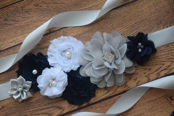 Maternity sash belt,Navy white silver Sash , #3, flower Belt, maternity sash, baby shower gift