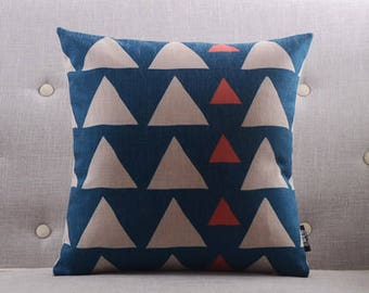 Decorative pillow, cushion cover blue and white triangle geometrichome throw pillow shell customized size