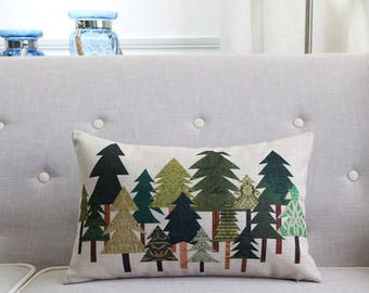 Decorative pillow, cotton linen cushion cover , pine tree cushion shell, throw pillow customized size