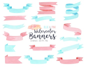BUY 2 GET 1 FREE Watercolor Ribbon Banner Clip Art in Pink & Blue - pastel hand drawn watercolour ribbon banners clipart -Commercial Use Ok