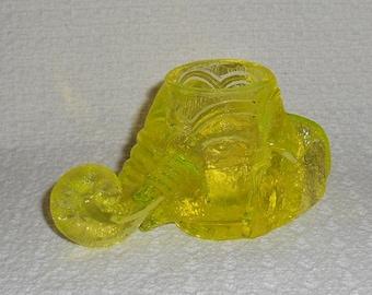 Degenhart Glass Animal Elephant Toothpick Holder Canary Vaseline Glass