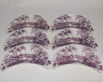 Royal Staffordshire TONQUIN Plum Purple Bone Dishes ~ Set of 6 ~ Clarice Cliff Vintage Transferware