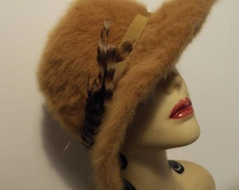Vintage Ladies Hat 1950's Mustard Mohair Look Brimmed Day Hat with extra Feathers By KANGOL