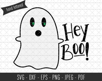Hey Boo SVG, Halloween SVG, Commercial SVG Files, Commercial Cut Files, Hand Lettered Svg, Halloween Cut File, Spooky svg, Funny svg, Vector