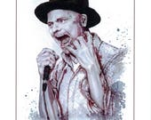 """Giclee Print Greeting Card: """"Courage, Grace, Love, Canadian"""" - Gord Downie (original piece was painted with wine)"""