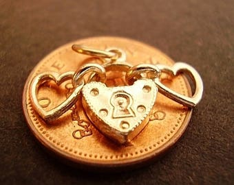 9ct Gold Two Hearts Padlock Fully Hallmarked Charm