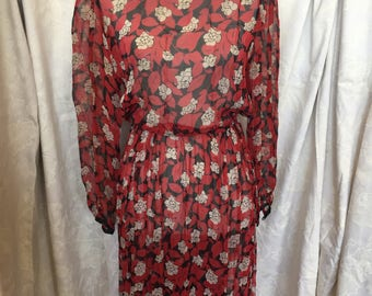 Late 79s black/red/cream floral sheer dress