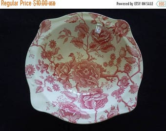 SPRING SALE Red Transferware, Johnson Bros. English Chippendale Serving Bowl, Display Piece