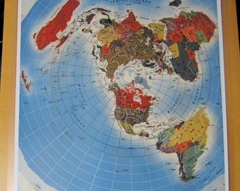 Laminated Small Flat Earth Air Age Azimuthal Equidistant Polar Projection World Map