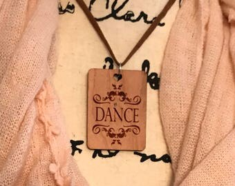 Dance Pendant Necklace, Laser Engraved Cherry Wood, Group Gift Ideas, Group Discounts, Wedding Gifts, Laser Engraved, Bursting Barns Designs