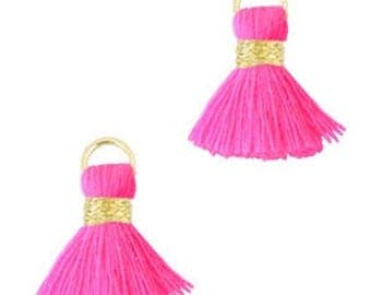 Beaded tassels, tassels, tassel pendant-1.5 cm-3 pcs.-Color selectable (color: pink)