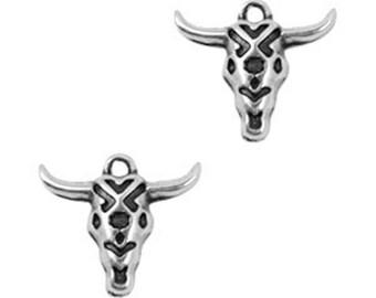 DQ Metal Pendant Buffalo head-1 piece-19 x 16 mm-Zamak-color selectable (color: silver)