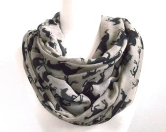 Horse scarf, Horses, Equestrian, Cowboy scarf, Black horse, Tan scarf, country scarf, Cowgirl scarf, Gifts