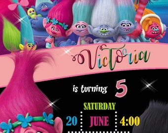 trolls Invitation Personalized, Custom, You Print as many as u need digital