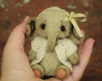 Artist Teddy Elephant - OOAK- Artist Teddy Bear-Teddy Elephant Camilla 3.5 inches-Miniature-Mini Toy