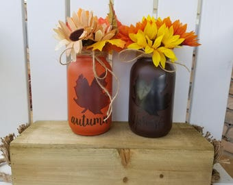 Fall Mason Jars, Fall Candle Jars, Luminary Jars, Candle Holders, Vase, Fall Decor, Fall Home Decor, Autumn Decor, Harvest Decor