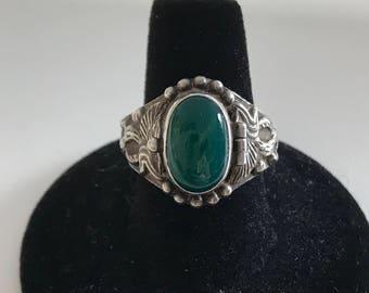 Vintage Sterling Silver Celtic Design Poison Ring Sz 8