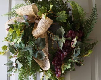 Fall Wreath, Red Grapes Wreaths, Grapevine Wreath, Woodland Summer Wreaths, Fern Wreath for Year Round, Large Leaves Wreath ready to ship