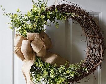 BOXWOOD Wreath - Spring Summer Wreaths -Spring Boxwood Wreath-Boxwood Wreath- Burlap Boxwood Wreath