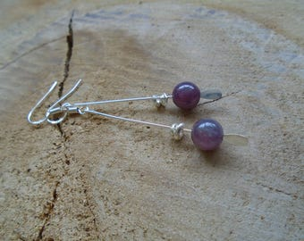 Rubellite and 925 Sterling Silver earrings / / gemstone / / (Pink Tourmaline)