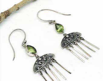 Peridot Earrings in sterling silver 925: Genuine natural peridot stones. Perfectly matched .
