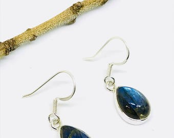 Labradorite, moonstone earring set in Sterling silver 925. Natural authentic stones. Perfectly matched stones.