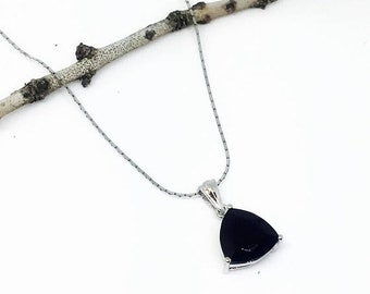 10% Black spinel Pendant/ necklaces set in Sterling silver 925. Natural authentic trillion cut black spinel. Length - .90 inch