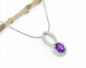 10% Amethyst and white zircon pendant necklaces set in sterling silver 925. Genuine authentic stones.