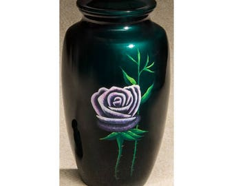 Hand Painted Lavender Rose Teal Urn