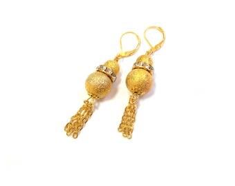 Gold dangle earrings chain Gold ball earrings Gold crystal earrings for wedding Gold tassel earrings Gold bridal earrings crystal