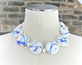 On Sale Vintage || Large White Stone Necklace || Blue Splatter Necklace || Avant Garde Necklace || Statement Necklace || 0396