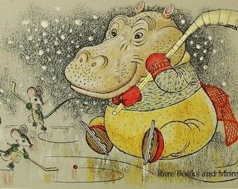 Mice Hippo Playing Hockey - Illustrator A. Golubev - Vintage Soviet Postcard, 1966. Mouse Goalkeeper Winter Olympics Animals Art Print