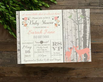 Deer baby shower invitation, Spring Flowers Birch Tree Invitation, Birch Trees, digital file, A Little Deer Is Almost Here #1009