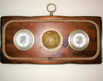Vintage Carrington Barometer-Thermometer Nautical Wall Decor With Old World Globe
