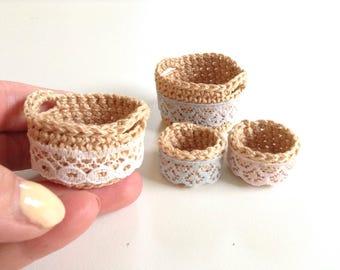 Miniature baskets, three styles, 1/12 one inch scale, handmade