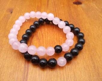 Distance bracelets, rose quartz and black onyx, gemstone bracelet set,