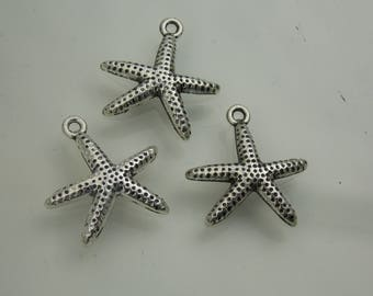 Silver plated // Minimalist starfish charms // 3PC