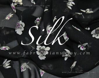 Buds fabric Black Silk Georgette by the yard