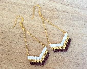 Bead weaving earrings geometric Chevron Burgundy, gold plated