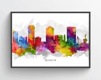 Wichita Kansas Skyline Poster, Wichita Print, Wichita Art. Wichita Decor, Home Decor, Gift Idea USKSWI13P