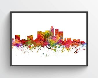 Los Angeles Skyline Poster, Los Angeles Cityscape, Los Angeles Print, Los Angeles Art, Home Decor, Gift Idea, USCALA08P