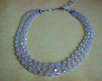 Aurora Borealis Crystal Vintage Triple Strand Necklace