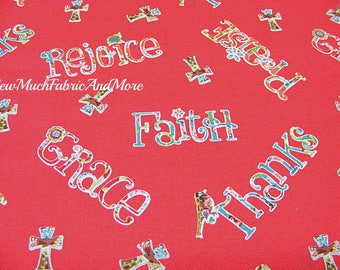 Faith Rejoice Fabric-By the yard-Cotton-Springs Creative-Religious-Grace-Crosses-Inspirational