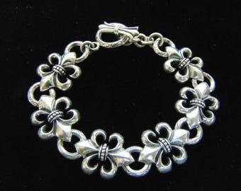 Womens Vintage Estate .925 Sterling Silver Fleur De Lis Link Bracelet, 39.3g #E2193
