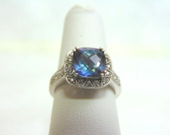 Womens Vintage Estate 14k White Gold & Diamond Tanzanite? Ring 3.6g  E3474