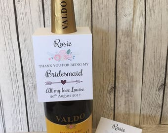 Rustic/Vintage Personalised Thank you for being my Bridesmaid,Maid of Honour bottle tag