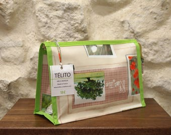 """Toiletry bag in oilcloth """"organic"""", nature inspired"""
