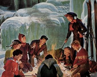 1952 Apres Ski Bonfire - Teenagers Roasting Hotdogs in Winter - John Clymer Art - 1950's Saturday Evening Post Magazine Cover