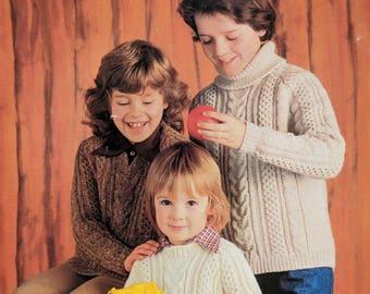 "Original Sirdar Aran Knitting Pattern for Children Chest 24""-32"""