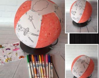 Colour Me, Balloon Ball Cover, Handmade, Fabric, Sensory Toy, Kids Ball, Colouring In, BALLARINA'S